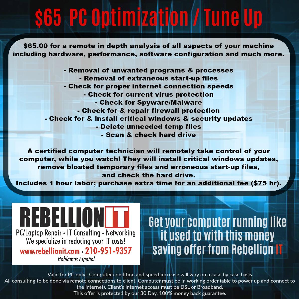 $65 PC Optimization / Tune-up