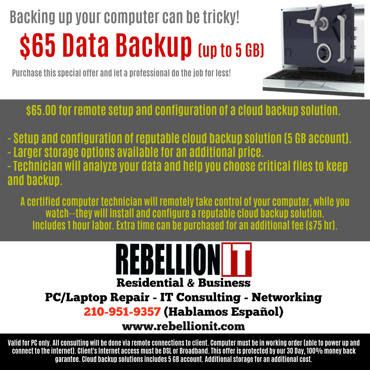$ 65 Data Backup Solution