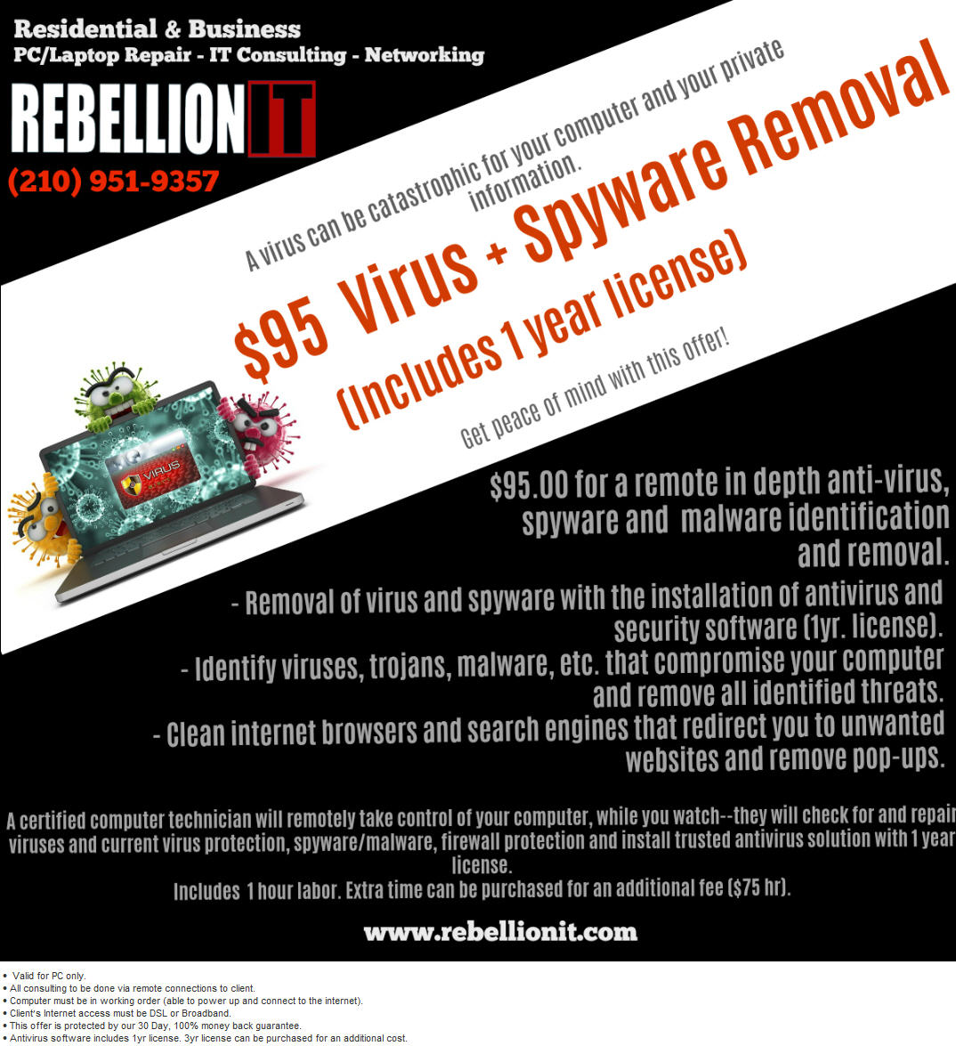 $95 Virus + Spyware Removal